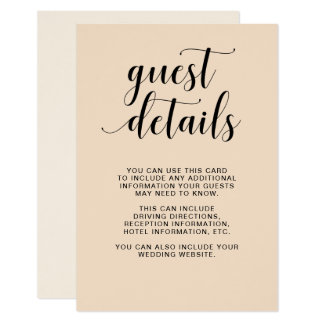 Blush Cascade | Wedding Guest Details Card