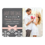 Blush Chalkboard Lace and Bow Save the Date Card 13 Cm X 18 Cm Invitation Card