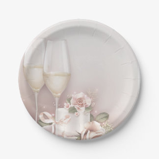Blush Champagne and Cake Paper Plate