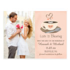 Blush Coffee Cup Monogram Heart Save the Date Postcard