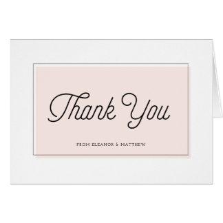 Blush Color Block Minimalist Thank You Card