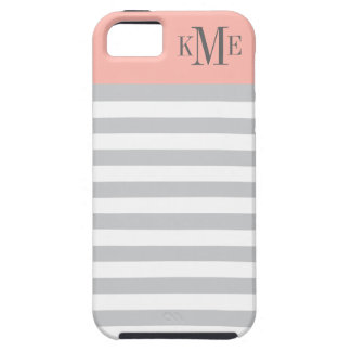 Blush Color Block Monogram | Gray Stripes Case For The iPhone 5