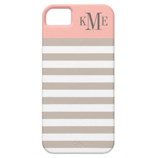 Blush Color Block Monogram | Neutral Stripes Case For The iPhone 5