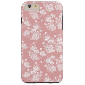 Blush coral white boho vintage elegant floral tough iPhone 6 plus case