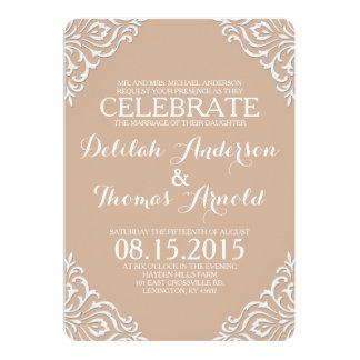"Blush Damask Filigree Elegant Wedding Invitation 5"" X 7"" Invitation Card"