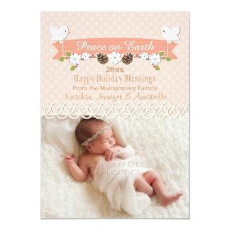 BLUSH DOVE BABY'S 1ST CHRISTMAS HOLIDAY PHOTO CARD 13 CM X 18 CM INVITATION CARD