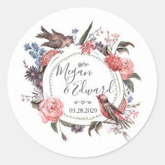 Blush Floral Bird Wedding Bridal Couples Shower Classic Round Sticker