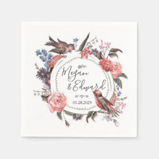Blush Floral Bird Wedding Bridal Couples Shower Paper Napkin