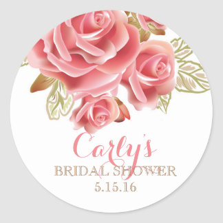 Blush Floral Bridal Shower Favor Stickers