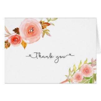 Blush Floral Bridal Shower Wedding Thank you notes