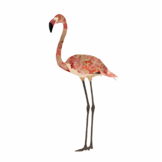 Blush Floral Flamingo Sculpture Standing Photo Sculpture