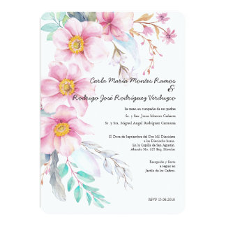 Blush Flower Spanish Wedding Invitation