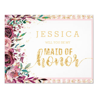 Blush Flowers Gold Will You Be My Maid of Honor Card