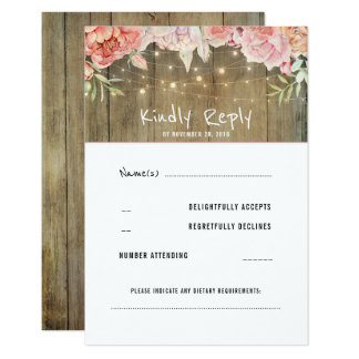 Blush Flowers Rustic String Lights Wedding RSVP Card