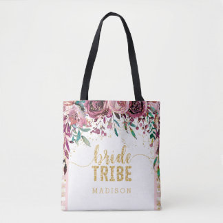 Blush Flowers Stripes & Gold Confetti Bride Tribe Tote Bag