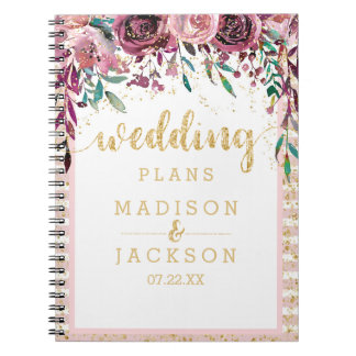 Blush Flowers Stripes & Gold Wedding Planner Spiral Notebook