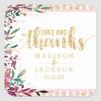 Blush Flowers Stripes Wedding Love & Thanks Favor Square Sticker