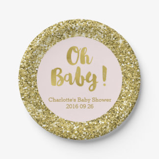 Blush Gold Glitter Oh Baby Baby Shower Plate