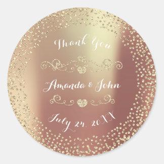 Blush Gold Glitter Save the Date Thank You Round Sticker