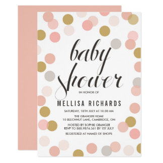 Blush & Gold Polka Dots Baby Shower Invitation