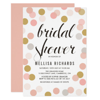 Blush & Gold Polka Dots Bridal Shower Invitation