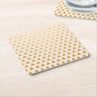 Blush + Gold Triangles Square Paper Coaster