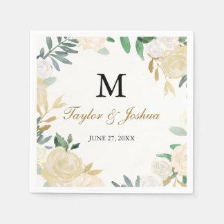 Blush Gold Wreath Monogram Wedding Napkin Disposable Napkins