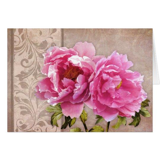 Blush greeting card, pink peonies flowers card