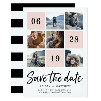 Blush Grid Collage | Photo Save the Date Card