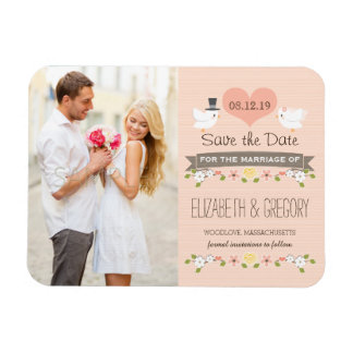 Blush Love Birds Dove Save the Date Rectangular Photo Magnet