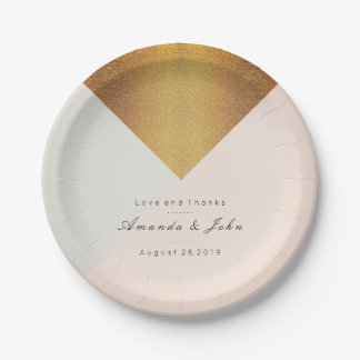 Blush Mint Pastel Pink Gold Pastel Bridal  Glam 7 Inch Paper Plate