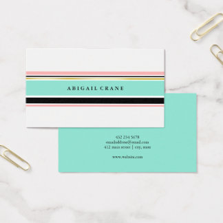 Blush & Mint Stripes Elegant Business Card