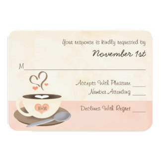 Blush Monogram Heart Coffee Wedding RSVP Cards 9 Cm X 13 Cm Invitation Card