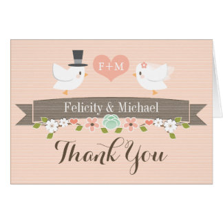 BLUSH MONOGRAM LOVE BIRDS DOVE WEDDING THANK YOU CARD