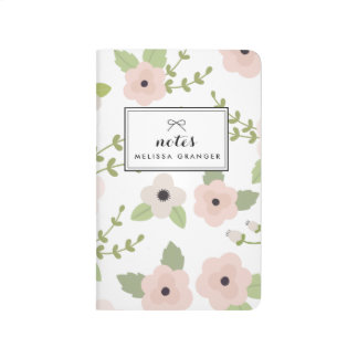 Blush Pastel Floral Pattern Personalised Journal