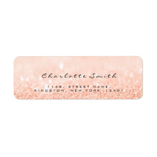 Blush Peach  Glitter RSVP Return Address Labels