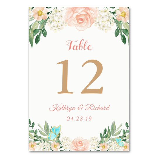 Blush Peach Rose Garden Wedding Table Number Card