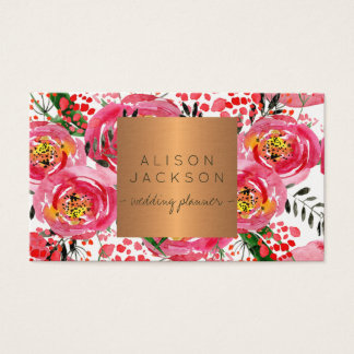Blush peonies copper gold wedding planner business card