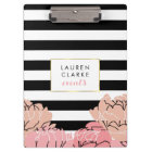 Blush Peony and Black Stripe Clipboard