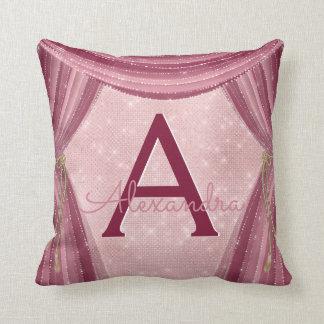 Blush Pink and Burgundy Curtains Monogram Name Cushion