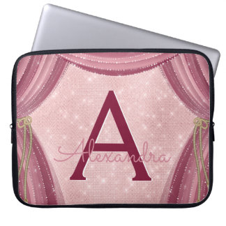 Blush Pink and Burgundy Curtains Monogram Name Laptop Sleeve