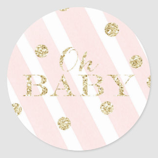 Blush Pink and Gold Baby Shower | Oh Baby Round Sticker