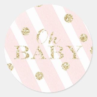 Blush Pink and Gold Baby Shower | Oh Baby Round Sticker