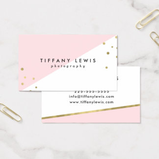 Blush Pink and Gold Business Cards