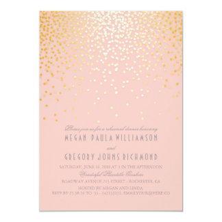 blush pink and gold confetti rehearsal dinner card