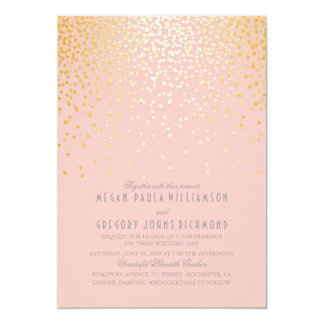 blush pink and gold confetti wedding 13 cm x 18 cm invitation card