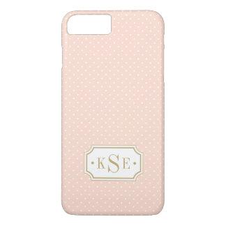 Blush Pink and Gold Elegant Dots Monogram iPhone 8 Plus/7 Plus Case