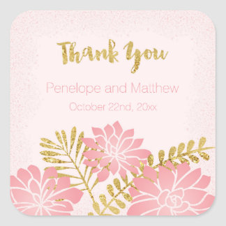 Blush Pink and Gold Flowers Wedding Thank You Square Sticker