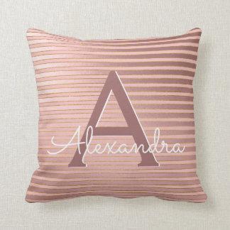 Blush Pink and Gold Foil Stripe Monogram Name Cushion