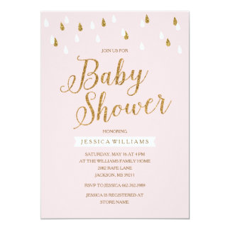 Blush Pink and Gold Glitter Raindrops Baby Shower 13 Cm X 18 Cm Invitation Card